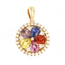Pendente con diamanti e pietre naturali - P00459RB11-A