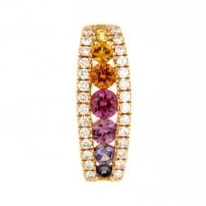 Pendente con diamanti e pietre naturali - P00871RB11-A