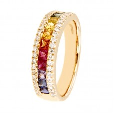 Anello con diamanti e pietre naturali - R00376RB11