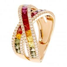 Anello con diamanti e pietre naturali - R00509RB11