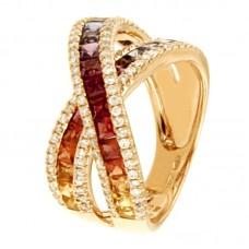 Anello con diamanti e pietre naturali - R00741RB11