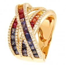 Anello con diamanti e pietre naturali - R00939RB11(1)