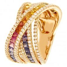 Anello con diamanti e pietre naturali - R01153RB11